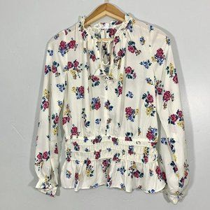 Socialite Ivory Floral High Neck Ruffled Blouse
